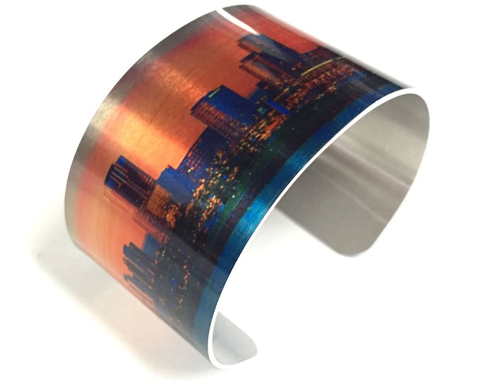 Cuff Bracelet CITY SKYLINE in metallic background, Pink, Aluminum, Jewelry, Customizable, Sublimation, gift for friends