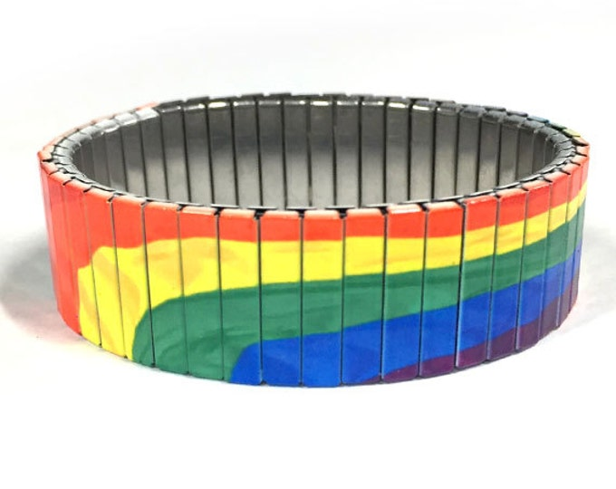 Rainbow pride stretch bracelet, Gay, Flag, Repurpose Watch Band, Sublimation, Stainless Steel, Wrist Band, gift for friend
