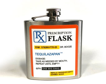 Prescription flask  6oz customizable Stainless Steel