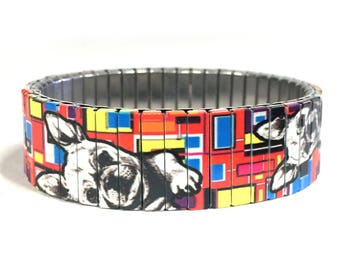 French Bulldog stretch bracelet made of repurposed stainless steel watch band