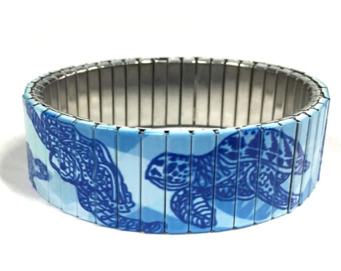 Sea turtles Stretch Bracelet, Repurpose Watchband, Sublimation, Stainless Steel, Wrist Band, gift for friends