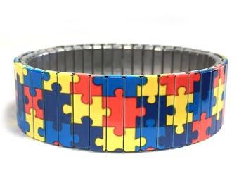 Wrist Art, autism awareness bracelet , stretch bracelet, Sublimation, Stainless Steel, gift for friend