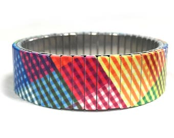 Stretch bracelet PLAID, Repurpose watch band, Sublimation, Stainless Steel, Wrist Band, gift for friends