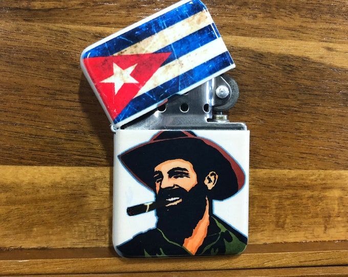 Flip lighter-Cuban flag-Sublimated-Retro-Cigar-Gift for Him-Groomsmen-Bachelors,-Fathers Day