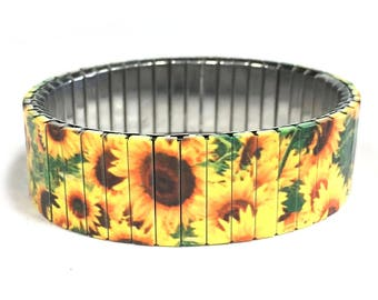 Sunflowers stretch bracelet Repurpose Watch Band, Sublimation, Stainless Steel, Wrist Band, gift for friend