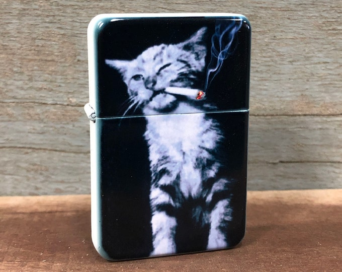 Smoking cat sublimated Old school Flip lighter