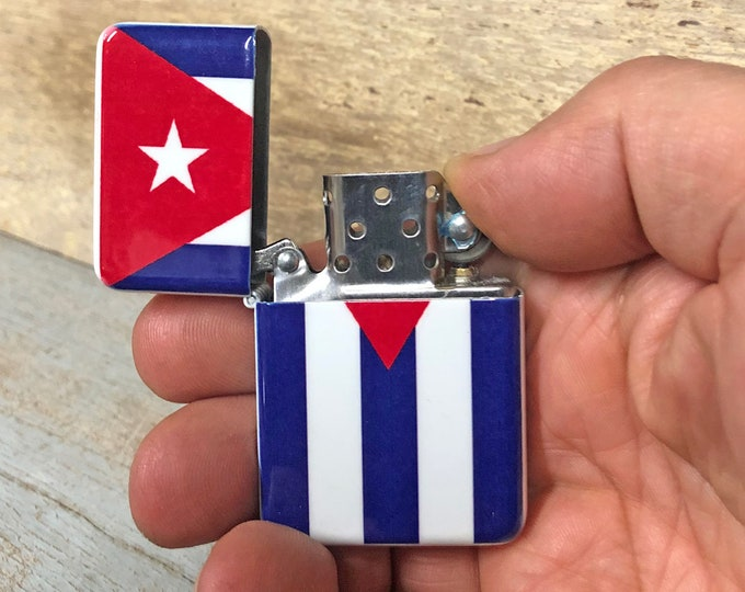 Cuban Flag flip lighter, Gift for Him, Groomsmen, Bachelors, Fathers Day