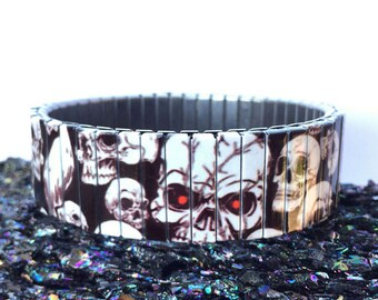 Skulls stretch bracelet, wrist-art ,Repurpose Watch Band