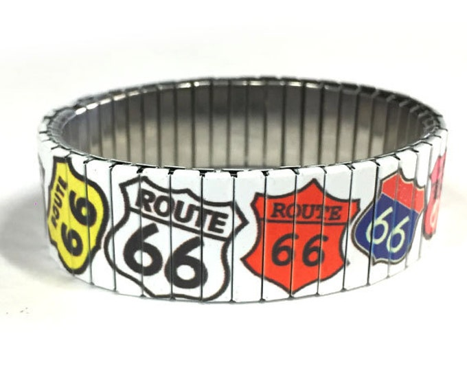 Stretch bracelet ROUTE 66 SIGN, Americana, Repurpose watch band, Sublimation, Stainless Steel, Wrist Band, gift for friend