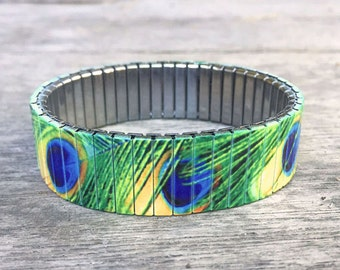 Peacock feathers stretch bracelet, Stainless Steel, Repurpose Watch Band, Wrist Band, Sublimation, gift for friends