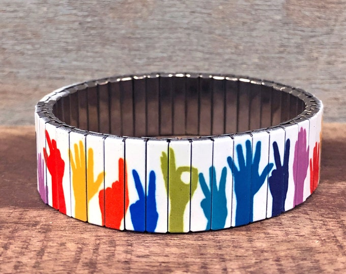 Sign language stretch bracelet-Wrist Art-Stainless Steel-Sublimation, gift for friend-gift for her-ASL hands