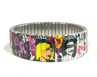Punk Rock stretch bracelet made of repurposed stainless steel watch band