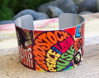 Aluminum Cuff Bracelet with 60's icon design gift for women