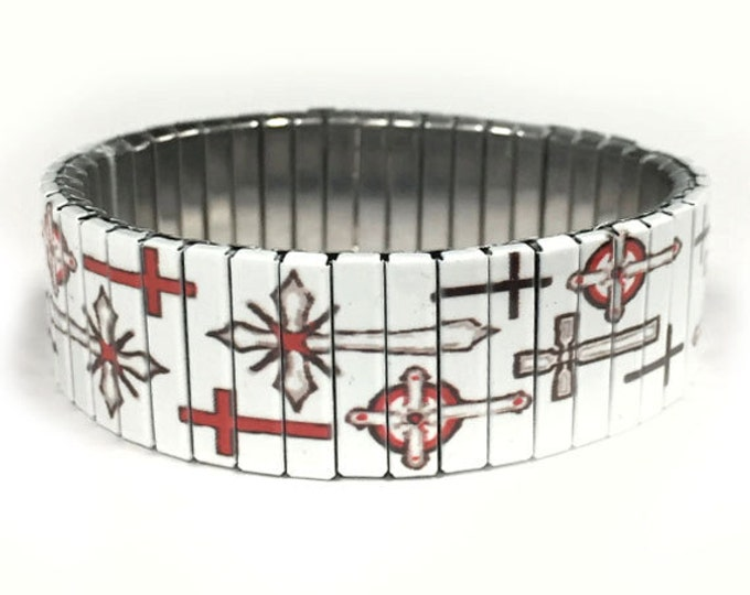 Stretch bracelet  crosses Religious, Faith, Stainless Steel, Repurpose Watch Band, Wrist Band, Sublimation, gift for friends