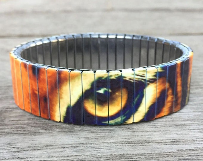 Tiger eyes bracelet made of repurposed stainless steel watch band