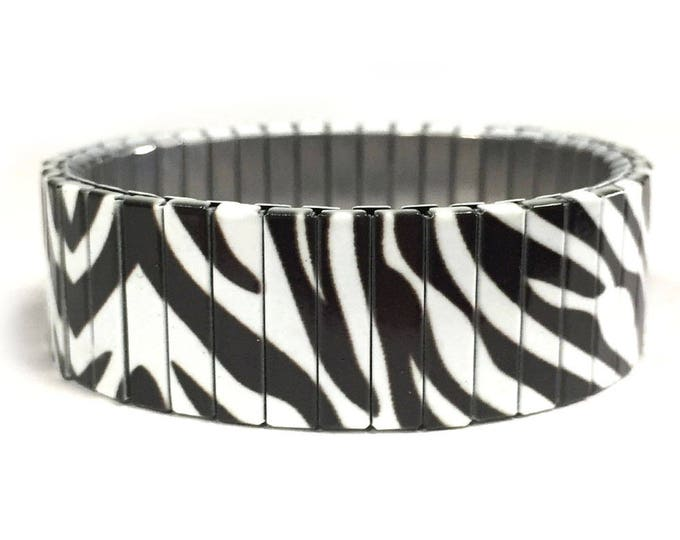 Zebra print-Bracelet-Wild Animals-Stainless Steel-Repurpose Watch Band-Stretch Bracelet-Wrist Band-Sublimation-gift for friends