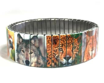 Wildlife stretch bracelet, Nature, Animal Kingdom, Repurpose Watchband, Sublimation, Stainless Steel, gift for friends