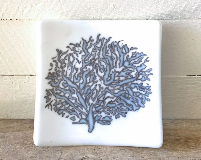 Glass dish, Coral design, reactive glass powder design, gift for friends