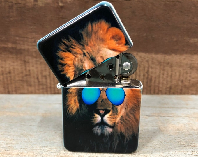 Lion in Sunglasses flip lighter, Gift for Him, Groomsmen, Bachelors, Fathers Day