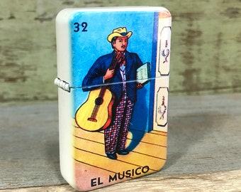 El Musico Lotería sublimated Old school Flip lighter