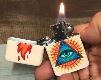 Eye of providence Illuminati flip lighter, Gift for Him, Groomsmen, Bachelors, Fathers Day