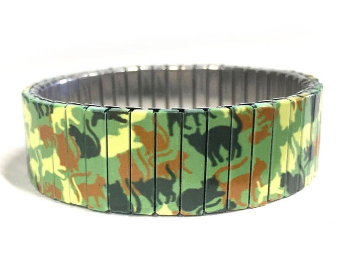 Stretch bracelet with cats Camouflage made of repurposed stainless steel watch band, gift for cat lovers