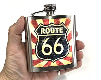 Flask 6oz, Route 66, Vintage sign, Americana, customizable, Stainless Steel, gift for friends or yourself