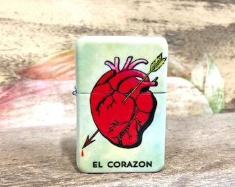 El Corazon Loteria flip lighter