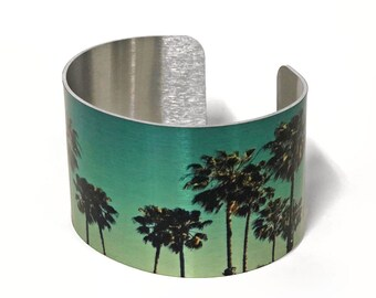 Cuff Bracelet Ombre Palm Trees Aluminum Jewelry Customizable Sublimation gift for friends