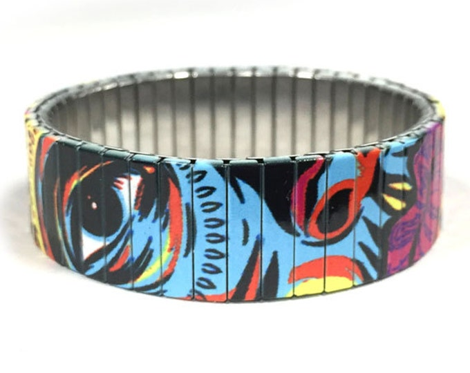Flexible steel bracelet, Modern Art, Stainless Steel, Repurpose Watch Band, Stretch Bracelet, Wrist Band, Sublimation, gift for friends