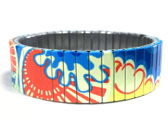 Bracelet SUNNY RETRO, Stretch Bracelet, Repurpose Jewelry, Sublimation, Stainless Steel, Wrist Band, gift for friends