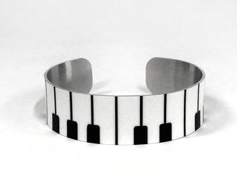 Aluminum Cuff Bracelet Piano keys design gift for women, gift for musician