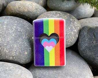 Flip lighter, progress LGBTQ Pride flag with heart