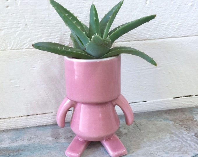 """ROBOT made of Ceramic, Pink, 4"""" tall, decorative figurine, pottery, quirky, gift for friend"""