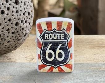 Route 66 Flag flip lighter, Gift for Him, Groomsmen, Bachelors, Fathers Day