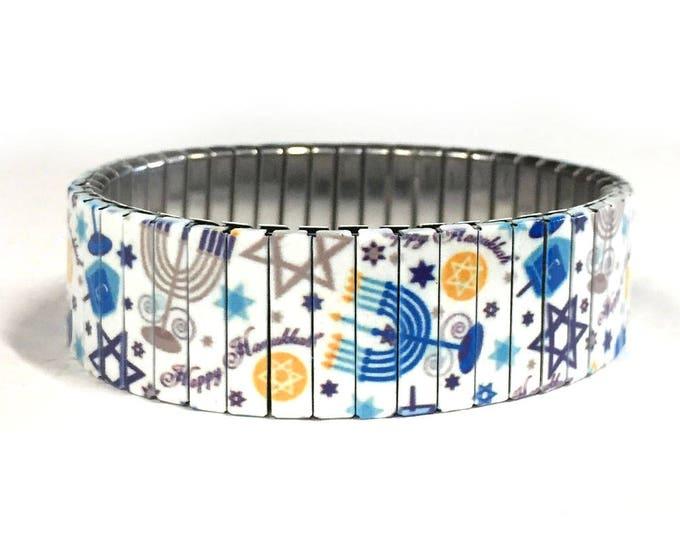 Hanukkah bracelet, Menorahs, stretch bracelet, Jewish Holiday, Repurpose Watchband, Sublimation, Stainless Steel, gift for friend