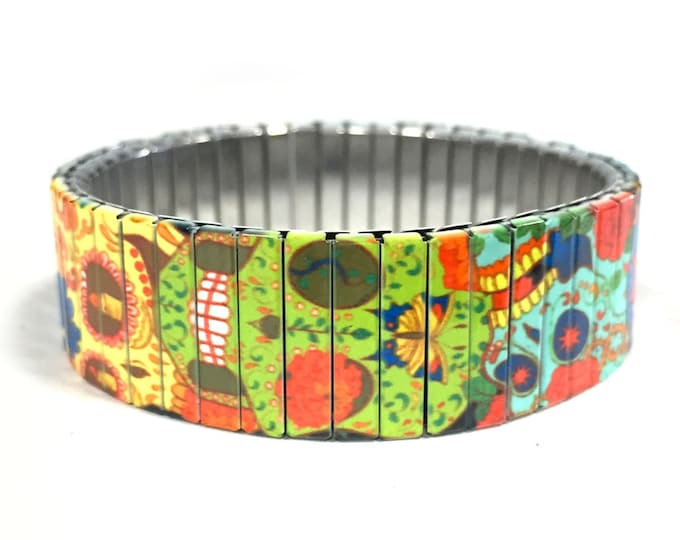 Sugar Skull bracelet - day of the dead - día de los muertos - Stainless Steel - Stretch Bracelet - Wrist Art - Sublimation - gift for friend