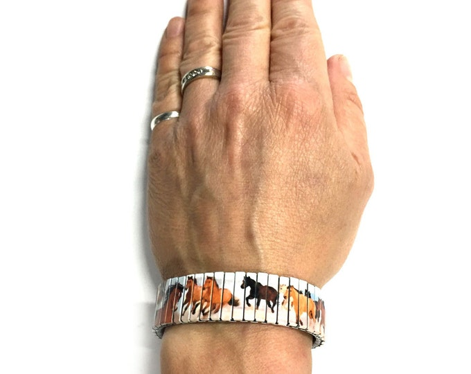 Bracelet HORSES, Wild horses, Stretch Bracelet, Repurpose Watch band, Sublimation, Stainless Steel, Wrist Band, gift for friends