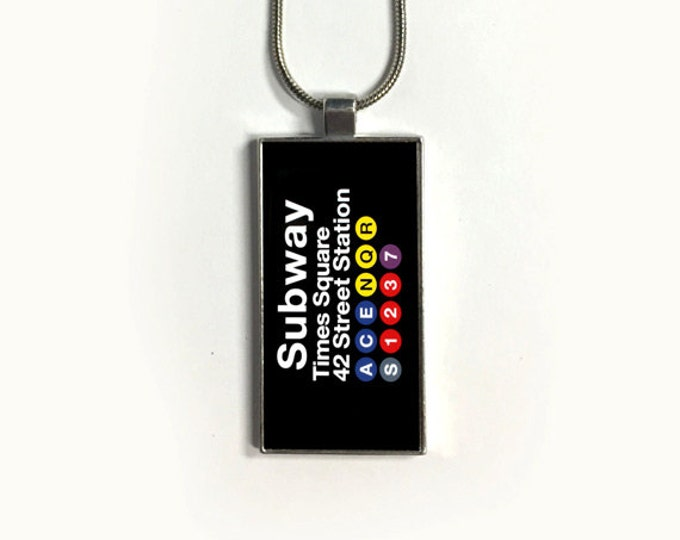 Necklace Times Square, Pendant, New York, Subway, Stations, sublimation, gift for friends