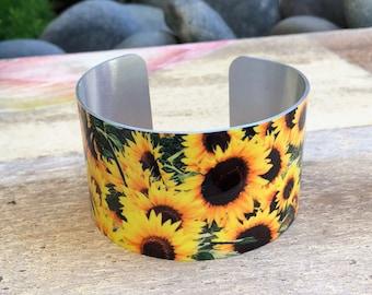 Aluminum Cuff Bracelet Yellow sunflowers design gift for women