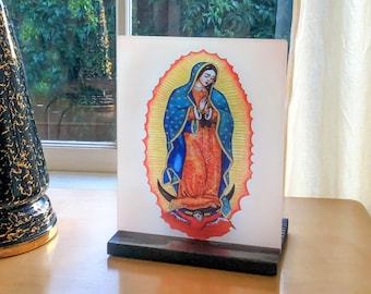 Our Lady of Guadalupe Altar or shrine candle, sublimated on glass panel