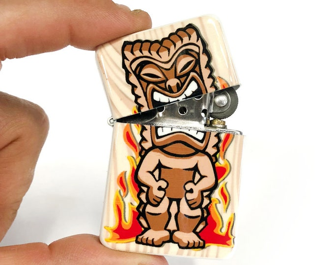 Tiki god Ku flip lighter-Polynesian-Sublimated-Retro-Cigar-Gift for Him-Groomsmen-Bachelors-Fathers Day