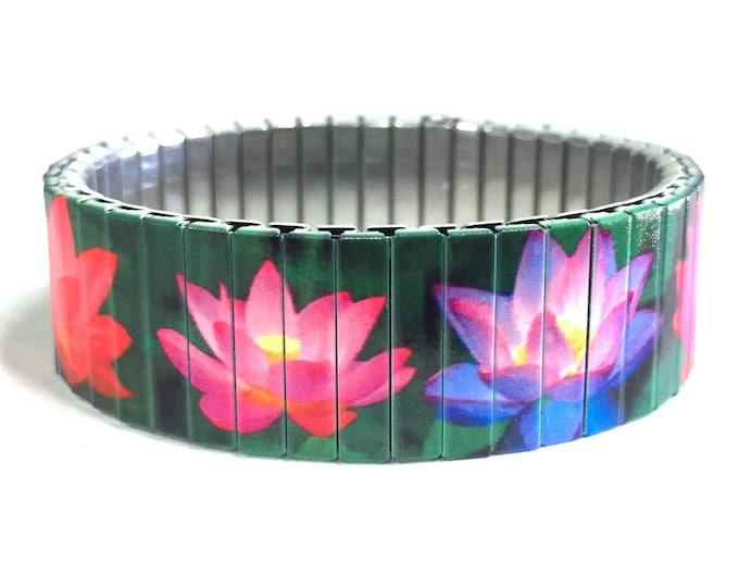 Wrist Art-Lotus bracelet-Lotus flower-Zen-Stretch bracelet-Sublimation-stainless steel-bracelet-gift for friends-gift for her