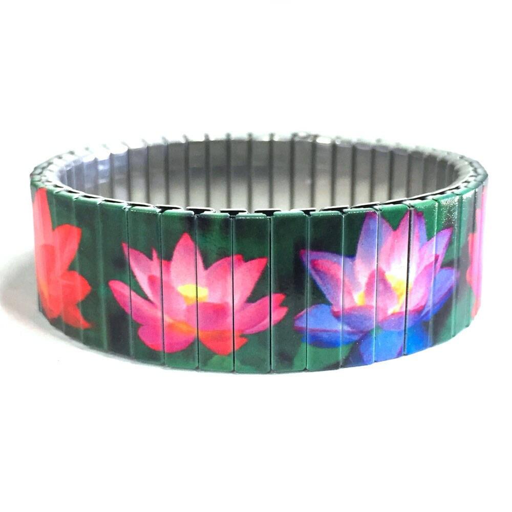 Wrist Art Lotus Bracelet Lotus Flower Zen Stretch Bracelet