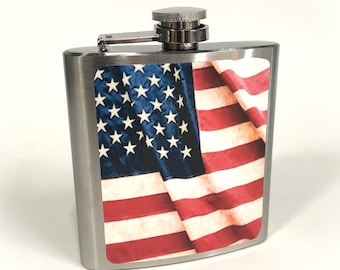 Flask 6oz, USA flag, Patriotic, Americana, customizable, Stainless Steel, gift for friends or yourself