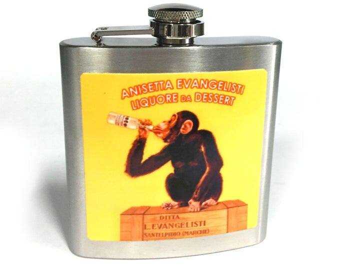 Flask 6oz, Drinking Monkey, Vintage Poster, Yellow, customizable, Stainless Steel, groomsmen gift, gift for friends or yourself