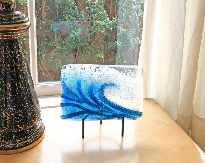 Blue wave, fused glass, 3rd anniversary gift, iridized glass, hand made, gift for friend