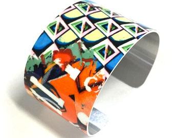 Cuff Bracelet Cubist art, Aluminum, Jewelry, Customizable, Sublimation, gift for friends