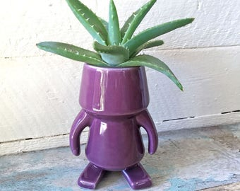 """ROBOT made of Ceramic, Purple, 4"""" tall, decorative figurine, pottery, quirky, gift for friend"""