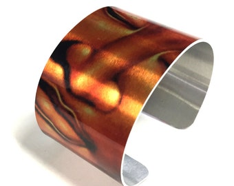 Cuff Bracelet Buddha in metallic background, Zen, copper color, Aluminum, Jewelry, Customizable, Sublimation, gift for friends